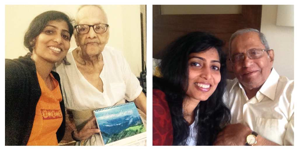 Though 'invisible', you walk with me! Left: Me with my writing mentor, J. D Sir. Right: My dad and me.