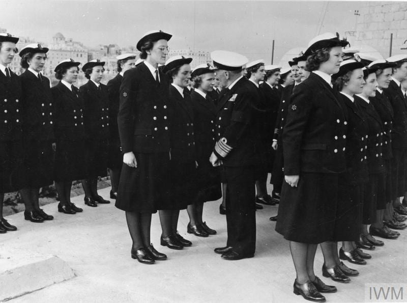 FIRST SEA LORD VISITS HOME AND MEDITERRANEAN FLEETS AT MALTA DURING COMBINED FLEET EXERCISES (GRAND SLAM?). 18 MARCH 1952, ON BOARD THE CRUISER HMS LIVERPOOL, IN GRAND HARBOUR, MALTA. (A 32082) The First Sea Lord, Admiral Sir Rhoderick McGrigor, inspecting Wrens, when he visited HMS ST ANGELO at Malta. Copyright: © IWM. Original Source: http://www.iwm.org.uk/collections/item/object/205162999