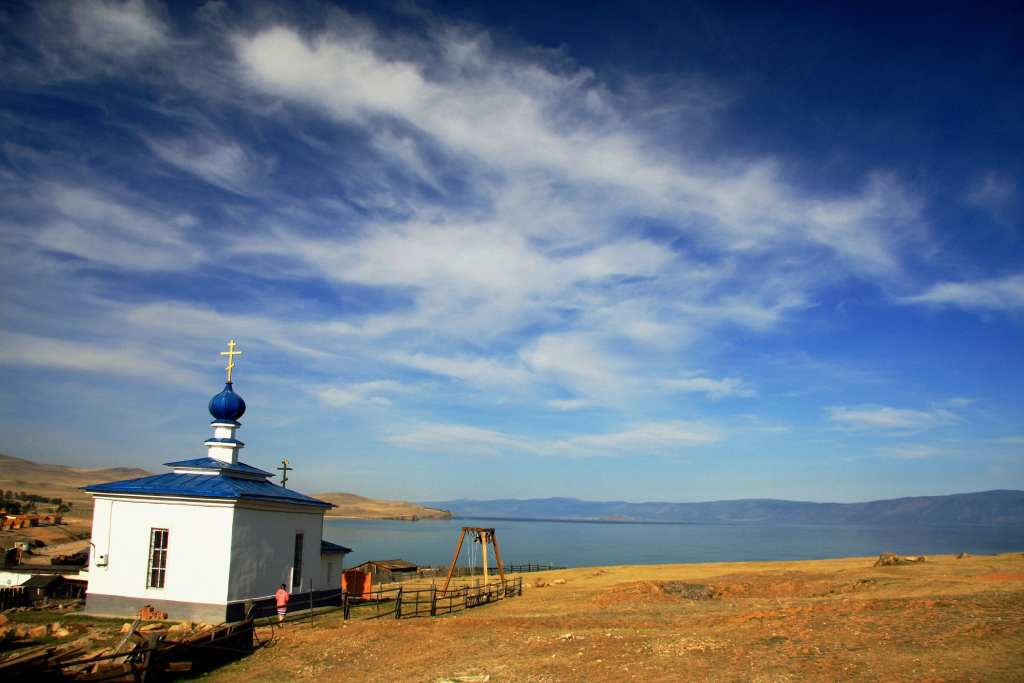 Neat white Christian church that stands over Lake Baikal