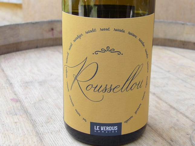 Roussellou white wine made at Le Verdus estate
