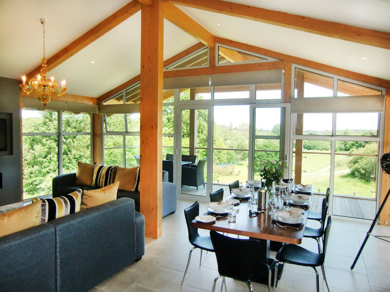 Penthouse lodge lounge at Stoke by Nayland Hotel showing Constable Country views copy