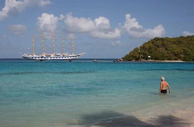Royal Clipper at anchor off The Tobago Cays