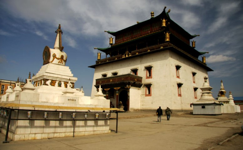 The main temple of Janraisig behind Gandan Khiid Mongolia