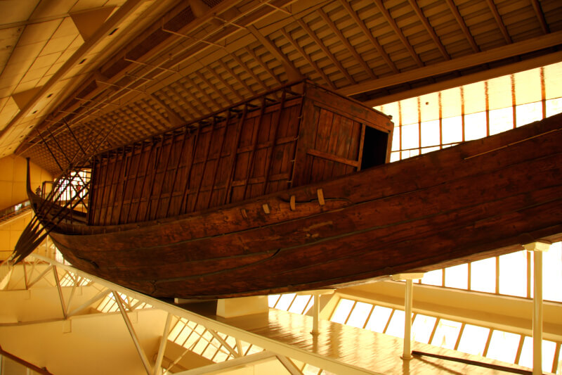 The well preserved solar barque originally buried alongside the pyramid