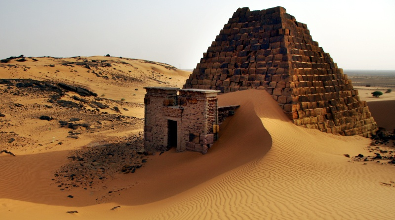 Pyramid engulfed by a large sand drift