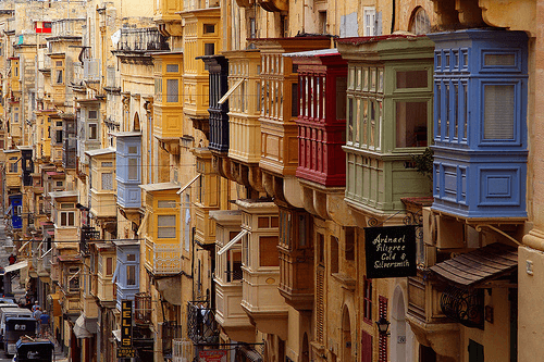 MalDia The capital city Valletta built on hills with streets and streets of old style balconies