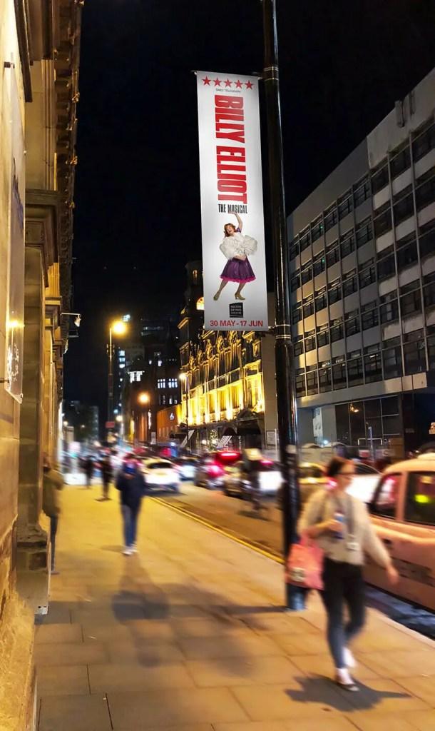 Billy Elliot lampost banner.