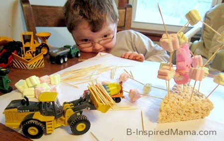 Creative Play after Making Marshmallow Sculptures Easter Craft at B-Inspired Mama