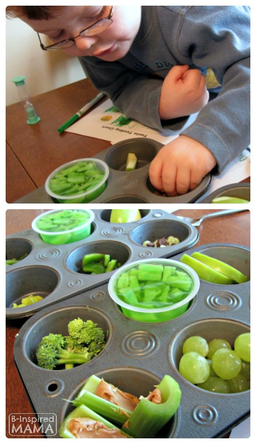 Fun Green Food Taste Testing for Picky Eaters on St. Patrick's Day at B-Inspired Mama