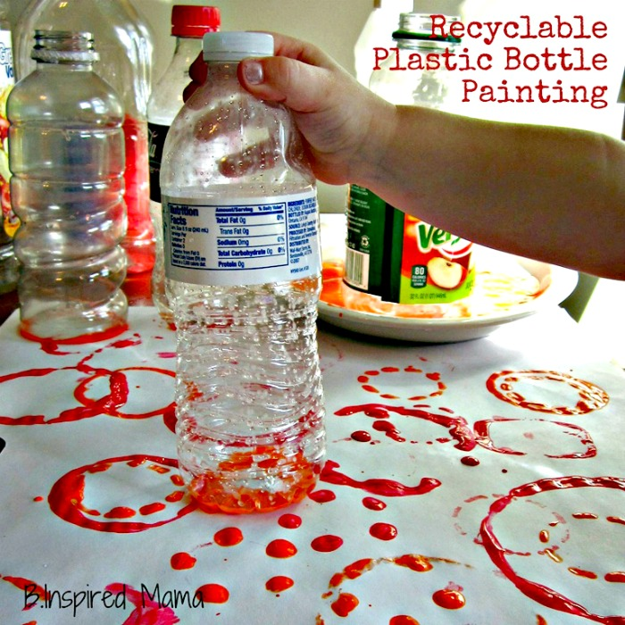 Plastic Bottle Print Painting for Earth Day at B-InspiredMama.com