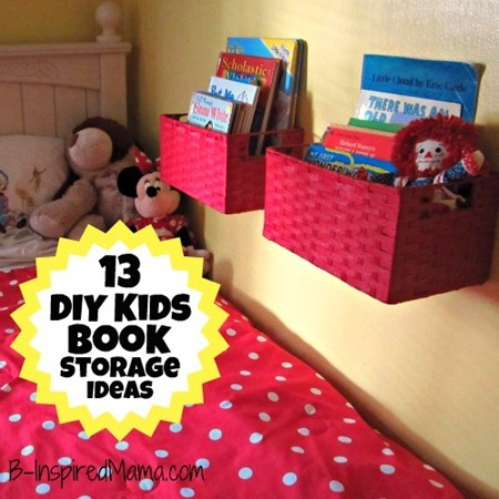 A diy wall book display with baskets 12 more kid 39 s book for Hampers for kids rooms