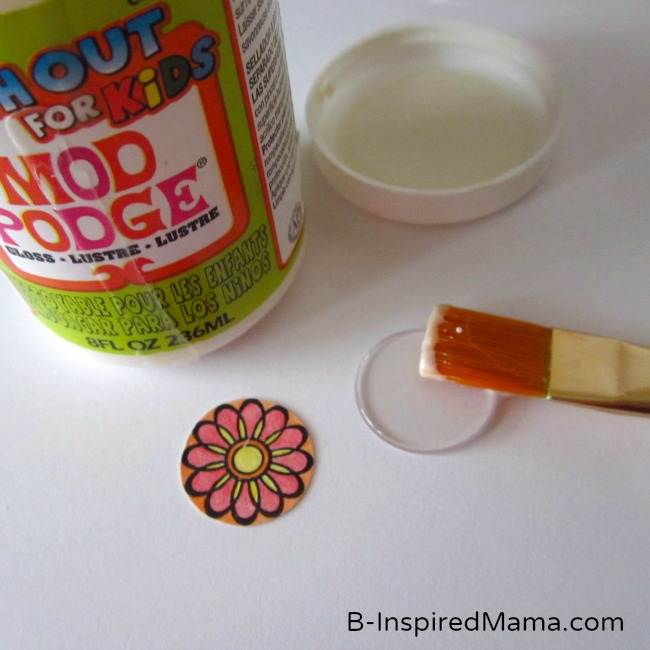 Flower Stamp and Mod Podge for Embellished Hair Bow by B-InspiredMama.com