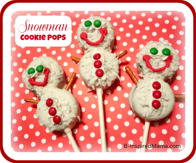 Snowman Cookies Pops at B-InspiredMama