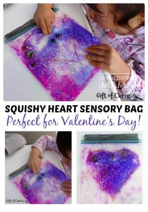 A Squishy Heart Sensory Bag Valentine Activity at B-Inspired Mama