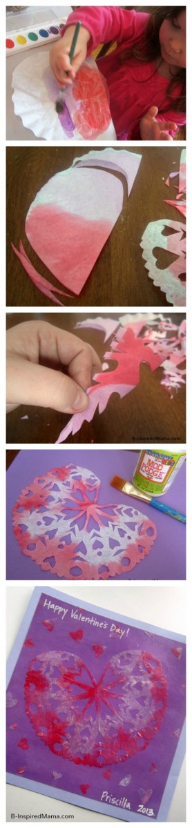 Snowflake Valentine Craft Picture Tutorial at B-InspiredMama.com