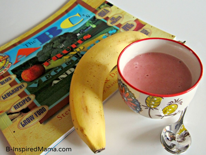 ABCs of Fruits & Vegetables Book with Strawberry Cheesecake Banana Ice Cream at B-InspiredMama.com