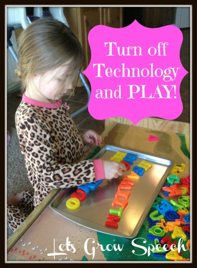 Turn Off Technology and Play with Let's Grow Speech and B-InspiredMama.com
