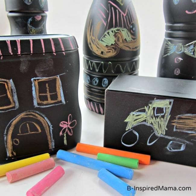 Chalkboard Toys Recycled Craft for Earth Day at B-InspiredMama.com