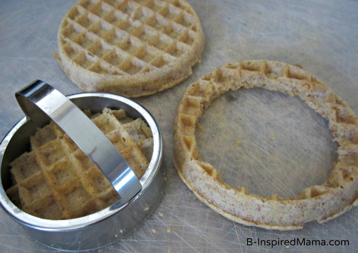 Cutting out Waffles for a Kids Birthday Breakfast Cake from Eggo and B-InspiredMama.com