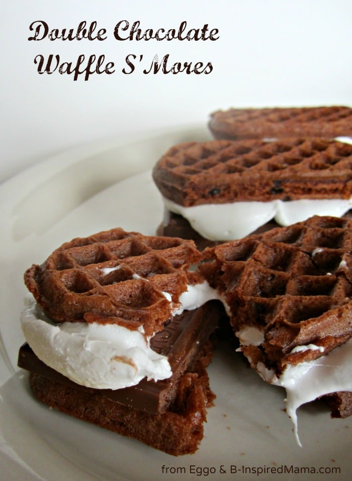Double Chocolate Waffle S'Mores Recipe with Eggo at B-InspiredMama.com