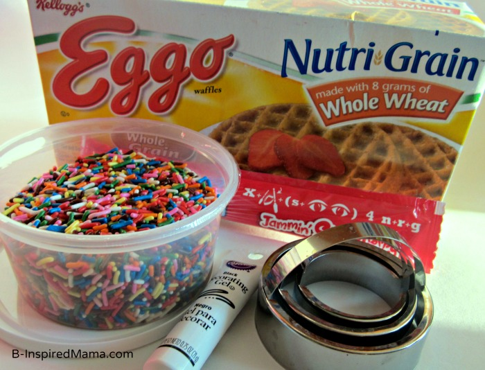Ingredients for a Kids Birthday Breakfast Cake from Eggo and B-InspiredMama.com