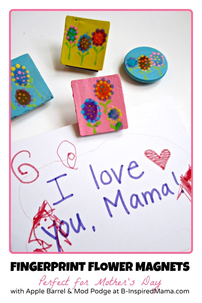 Kids Fingerprint Flower Magnets perfect for Mother's Day from B-InspiredMama.com