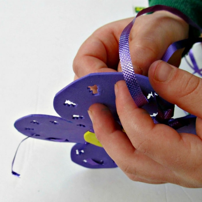 Kids Sewing Project with Foam and Ribbon at B-InspiredMama.com