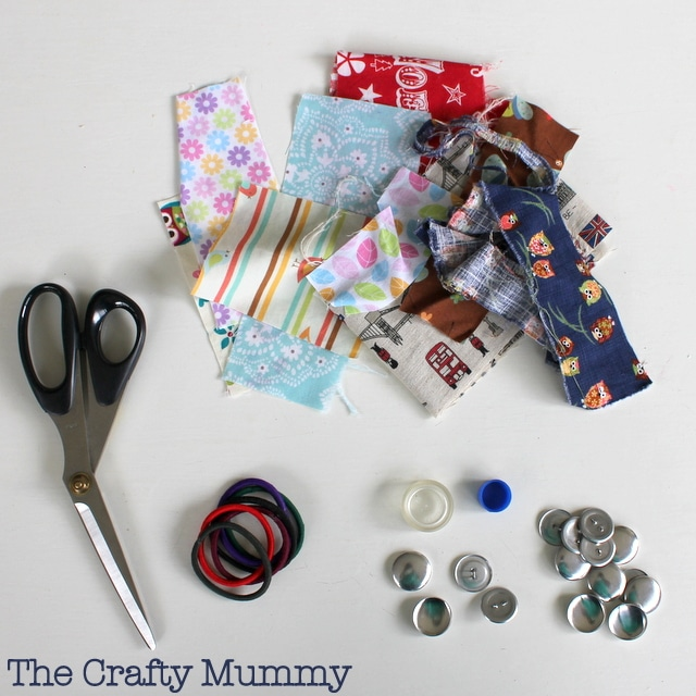 Supplies for the Covered Button Hair Tie Mama Craft from The Crafty Mummy at B-InspiredMama.com