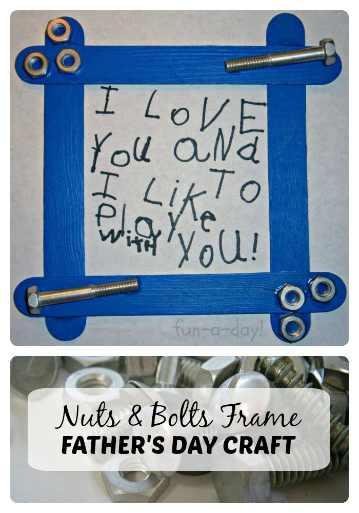 Nuts & Bolts Frame Fathers Day Craft for Kids