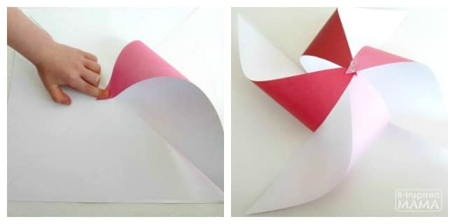Make a Pinwheel - To Impress Your Kids - How to Bring the Corners In - at B-Inspired Mama