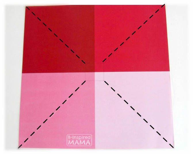 Make a Pinwheel - To Impress Your Kids - Where to Cut the Paper - at B-Inspired Mama