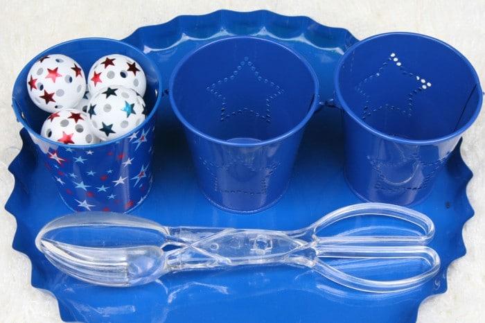Patriotic Ball Transfer Montessori Activity [From the Mamas]