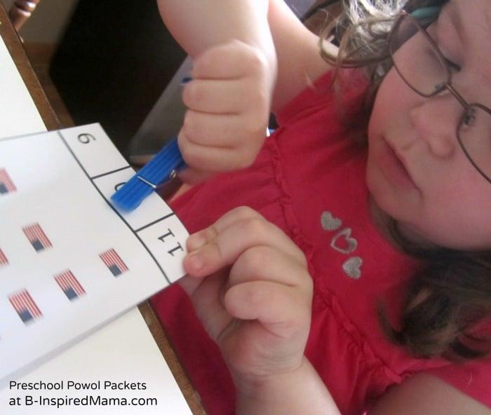 Preschool Printable Flag Counting Game from Preschool Powol Packets at B-InspiredMama.com