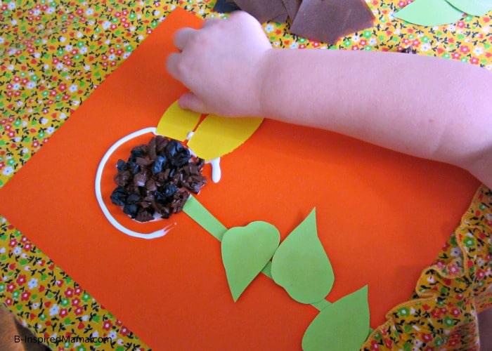 Making a Simple Sunflower Kids Craft at B-InspiredMama.com