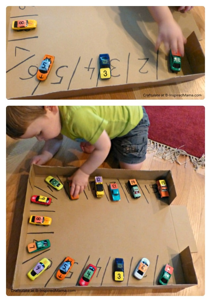 A Simple Car Parking Numbers Game - Craftulate at B-InspiredMama.com