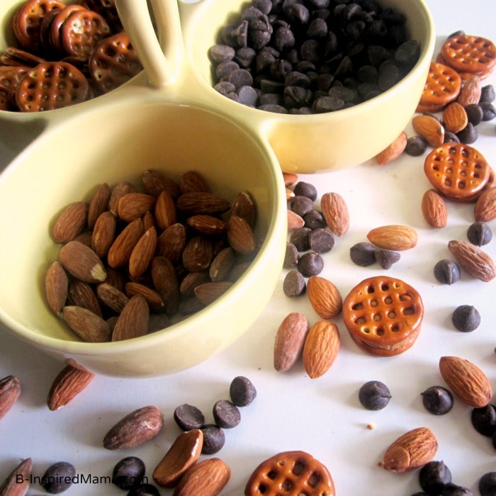 Making a Simple Kids Snack Mix at B-InspiredMama.com