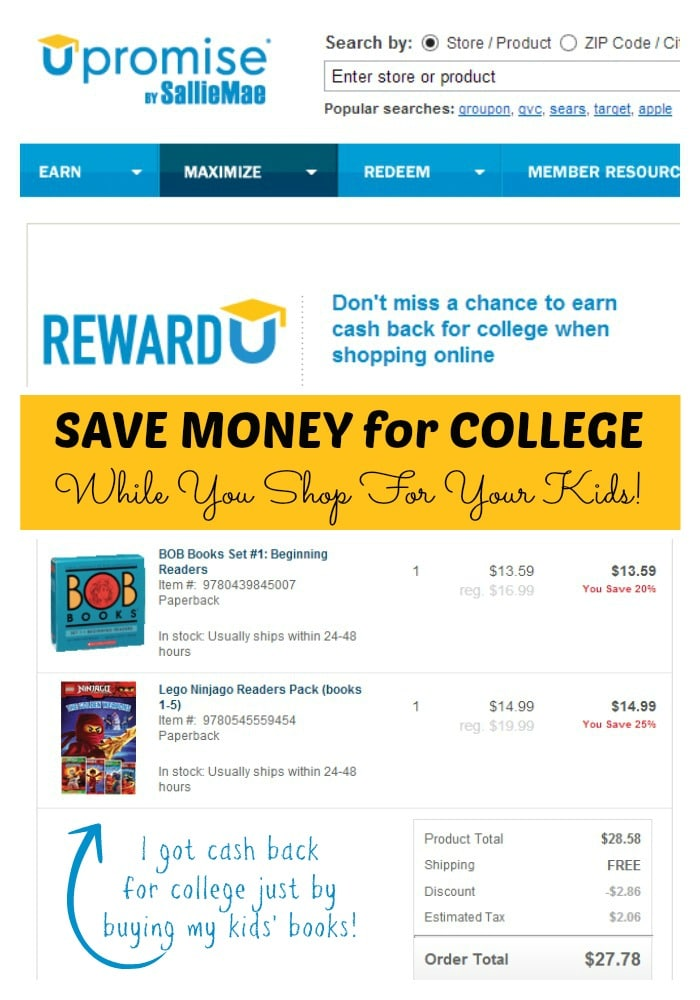 Saving Money for College with Upromise at B-InspiredMama.com