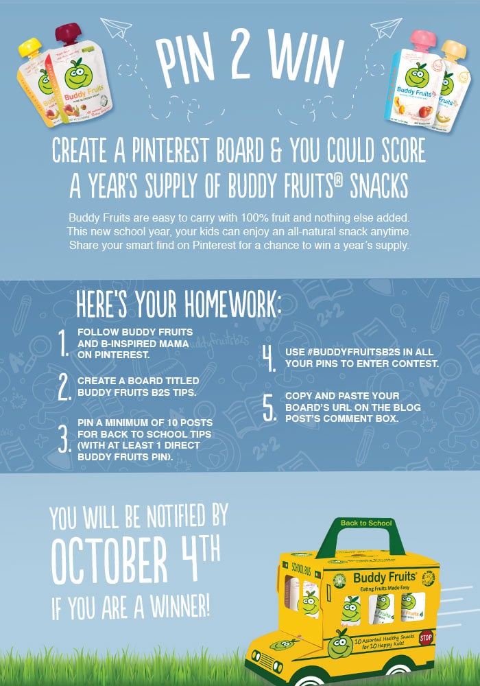 Go Back to School with Buddy Fruits and Pin to Win Contest at B-Inspired Mama