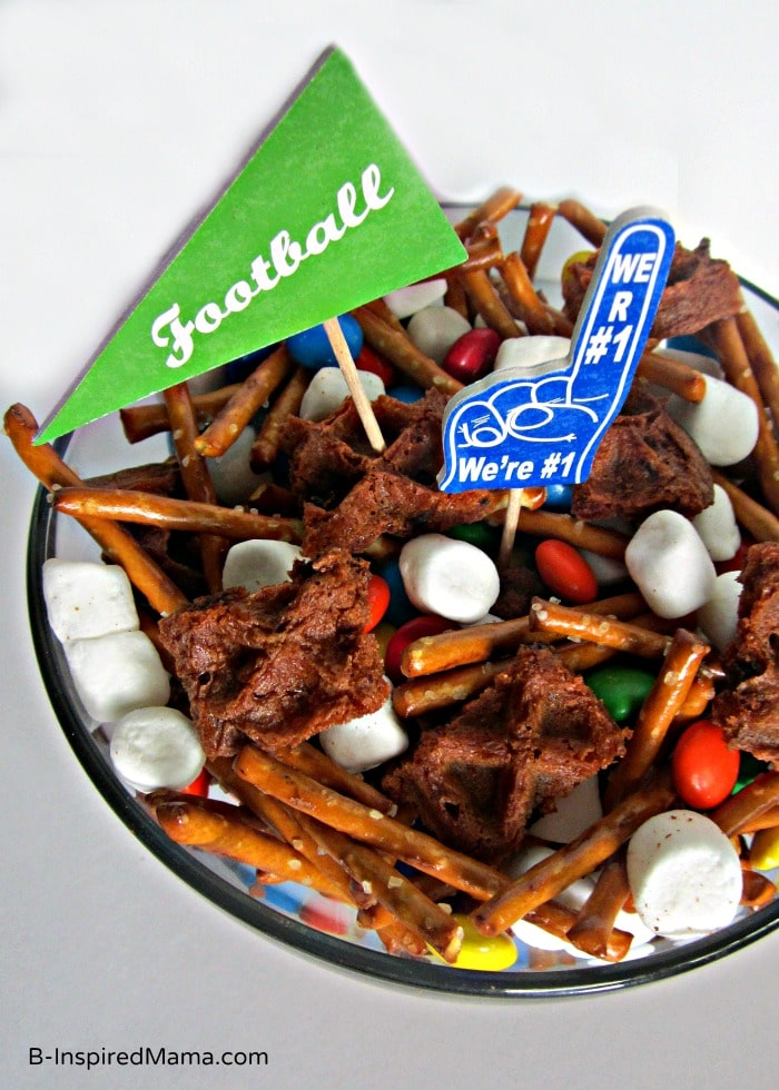 A Simple Football Party Mix Recipe with Eggo Waffles at B-Inspired Mama