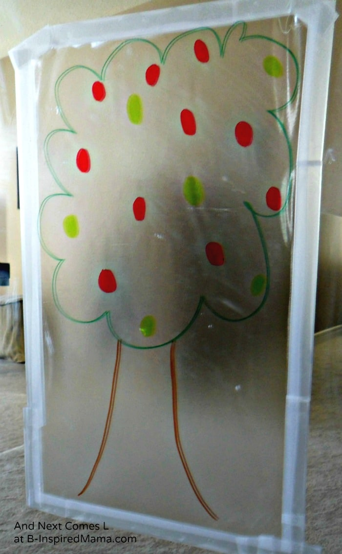 A Sticky Apple Tree Activity for Color Matching Fun at B-Inspired Mama