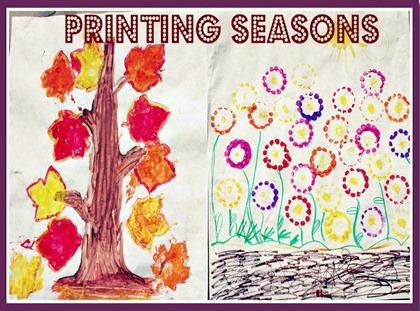 Comparing Spring and Fall with a Printmaking Season Craft at B-Inspired Mama