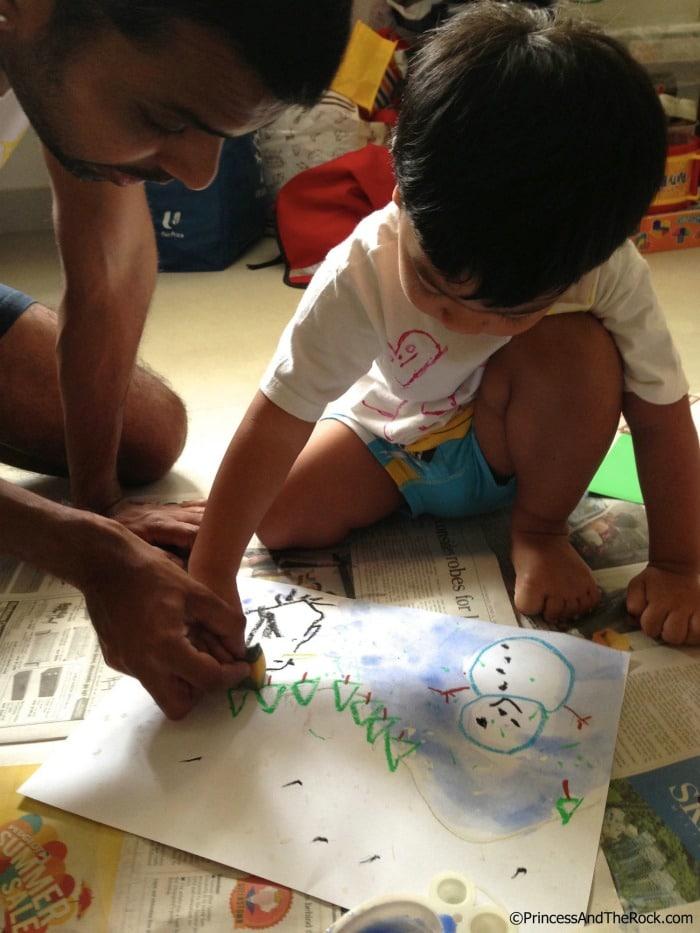 Snow Art Preschool Activities Inspired by Lemonade in Winter at B-Inspired Mama
