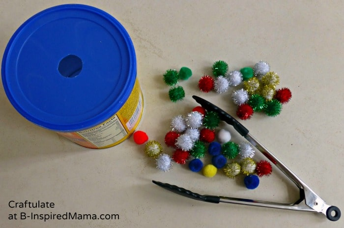 Tongs and Pom Poms for a Toddler Activity at B-Inspired Mama