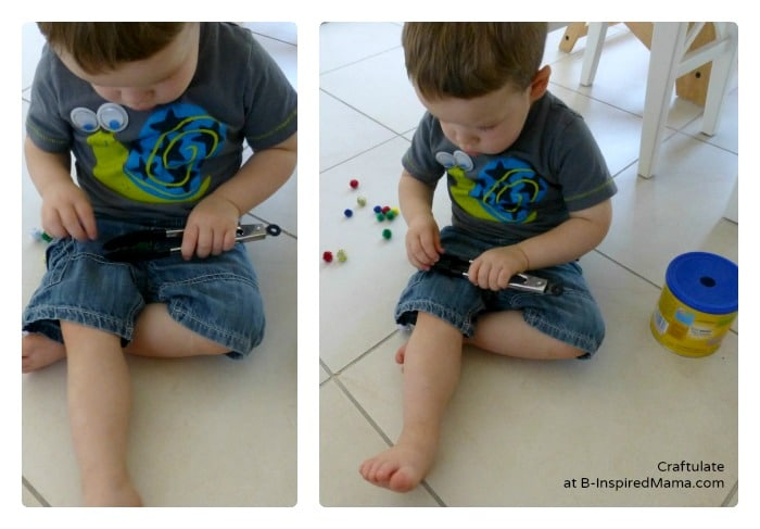 Using Tongs and Pom Poms for a Toddler Activity at B-Inspired Mama