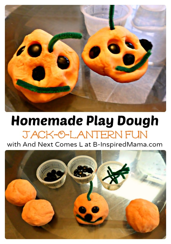 Jack-O-Lantern Play Dough Halloween Activity at B-Inspired Mama