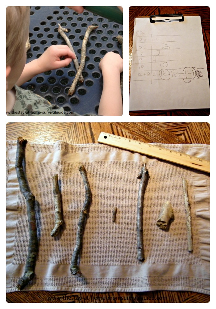 Nature Activities for Kids - Using Sticks for Math and Measuring at B-Inspired Mama