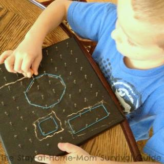 Math Fun with a Chalkboard Geoboard [Contributed by The Stay-At-Home-Mom Survival Guide]