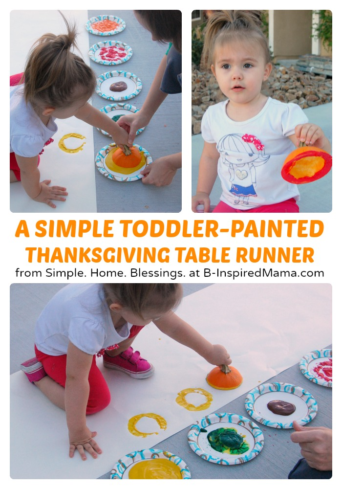 A Kids Thanksgiving Table Runner Art Project - B-Inspired Mama
