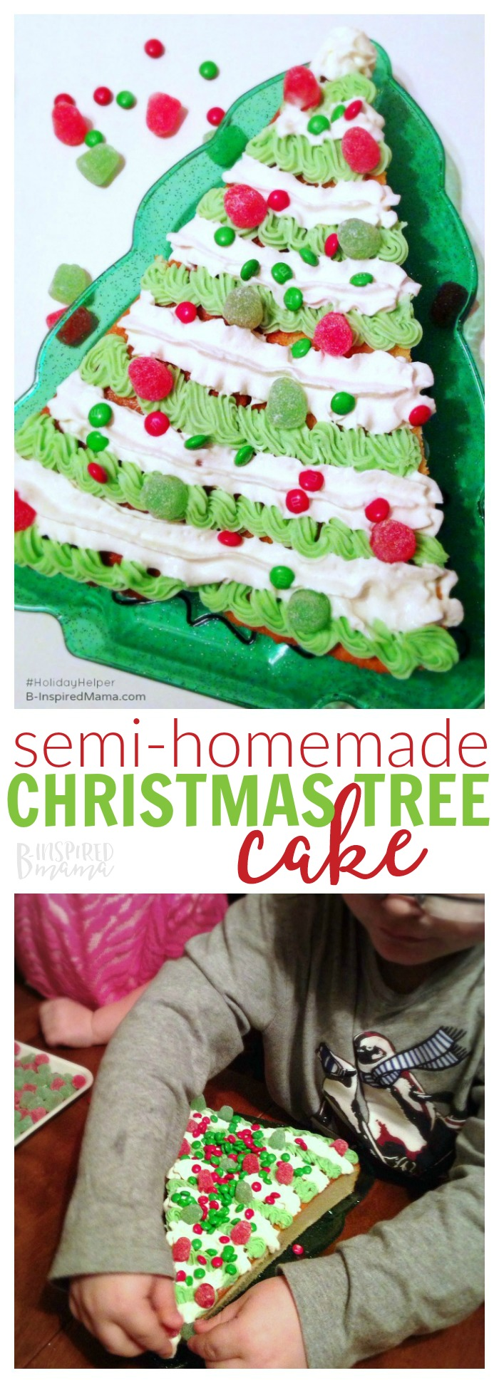 A semi-homemade Christmas tree-shaped Christmas cake recipe SO EASY the kids can make it themselves! It'll become their new favorite holiday tradition! #christmas #christmasrecipe #kidsrecipe #funfood #easyrecipe #kbn #kbnmoms #binspiredmama #holiday #kidsinthekitchen