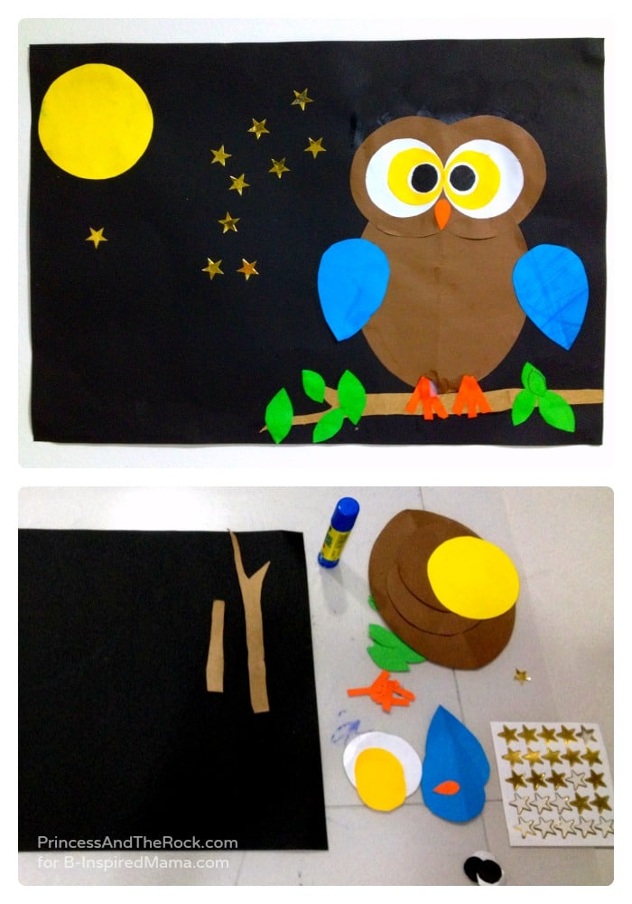 Using Shapes to Make a Cute Owl Craft at B-Inspired Mama